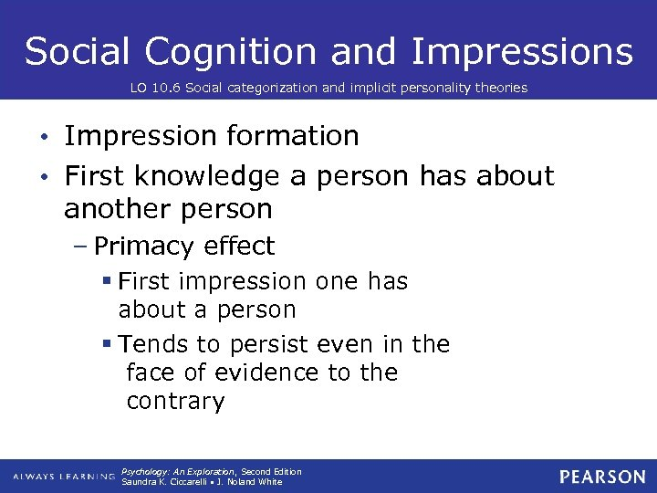 Social Cognition and Impressions LO 10. 6 Social categorization and implicit personality theories •
