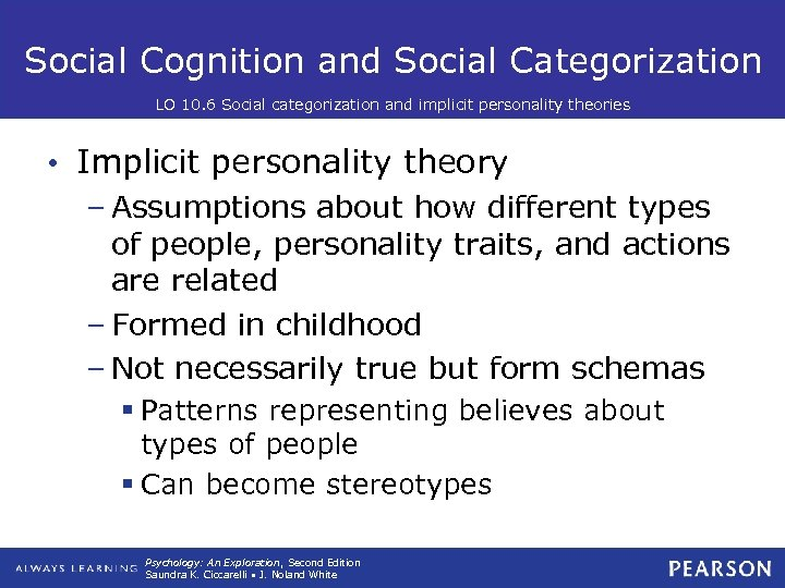 Social Cognition and Social Categorization LO 10. 6 Social categorization and implicit personality theories