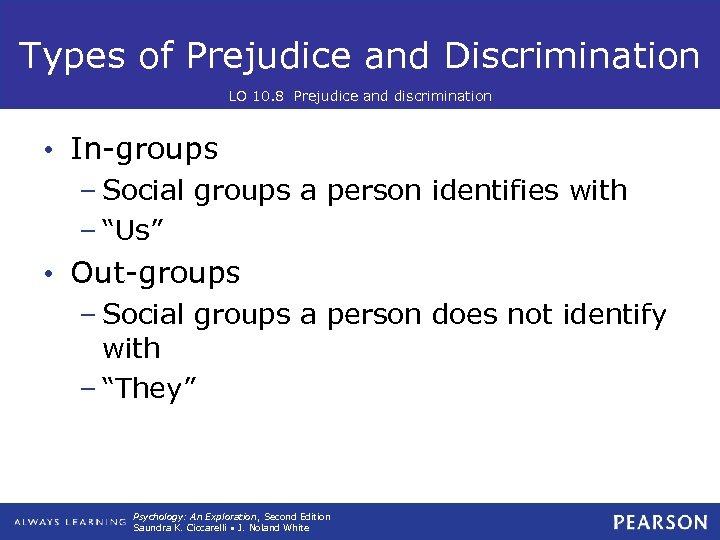 Types of Prejudice and Discrimination LO 10. 8 Prejudice and discrimination • In-groups –