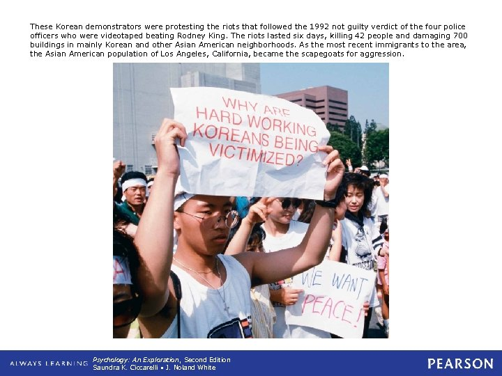 These Korean demonstrators were protesting the riots that followed the 1992 not guilty verdict