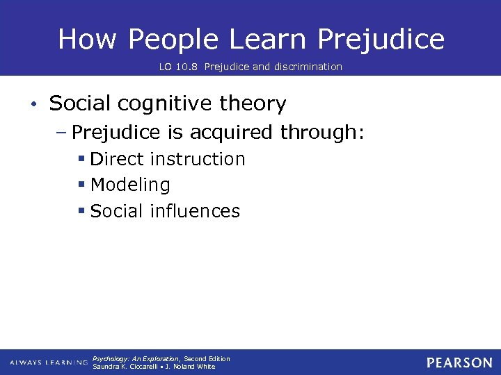 How People Learn Prejudice LO 10. 8 Prejudice and discrimination • Social cognitive theory