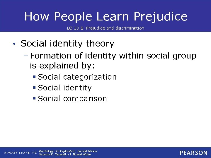 How People Learn Prejudice LO 10. 8 Prejudice and discrimination • Social identity theory