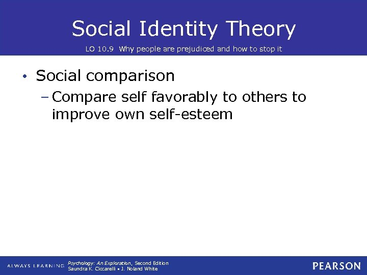 Social Identity Theory LO 10. 9 Why people are prejudiced and how to stop