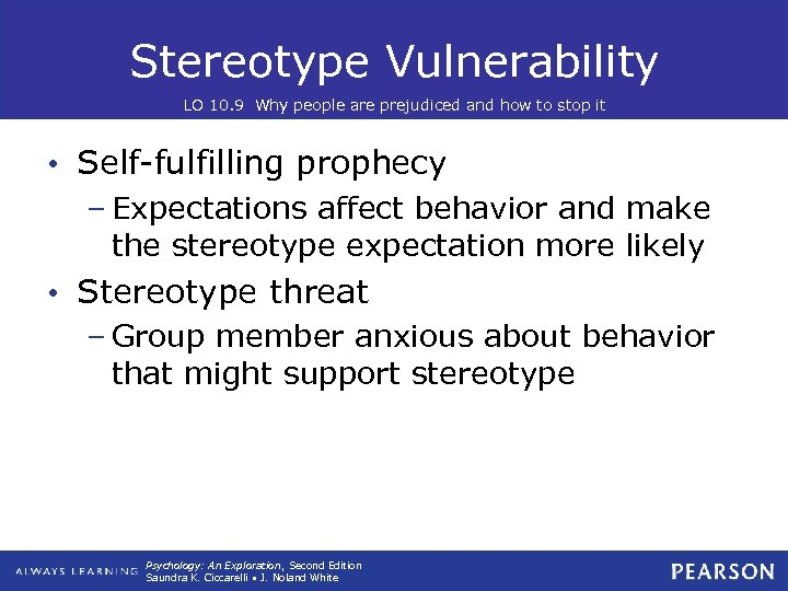 Stereotype Vulnerability LO 10. 9 Why people are prejudiced and how to stop it