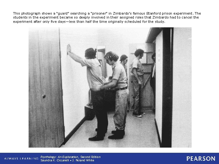 """This photograph shows a """"guard"""" searching a """"prisoner"""" in Zimbardo's famous Stanford prison experiment."""