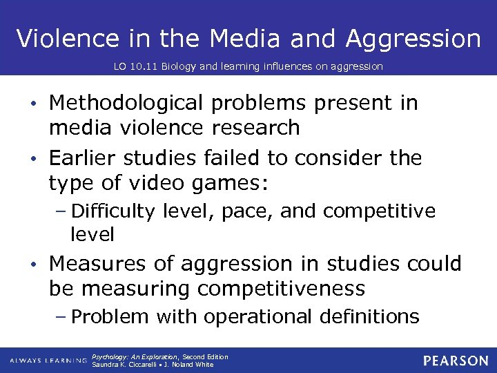 Violence in the Media and Aggression LO 10. 11 Biology and learning influences on