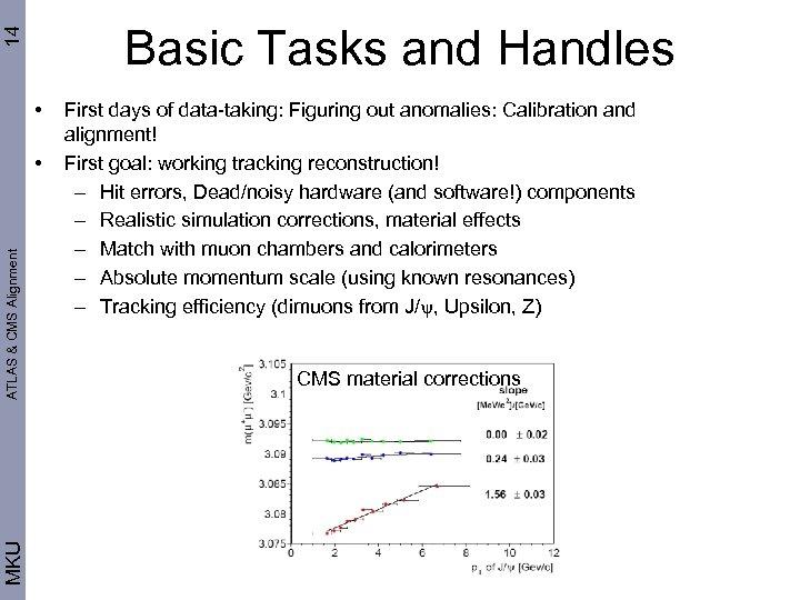 14 Basic Tasks and Handles • MKU ATLAS & CMS Alignment • First days