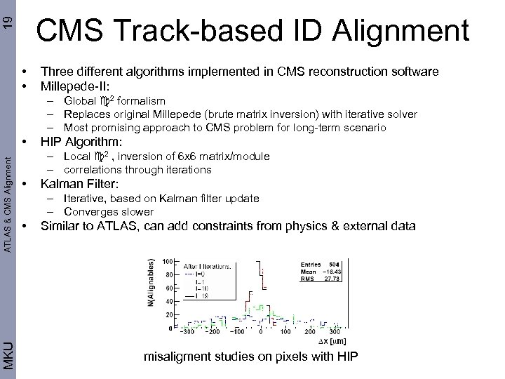 19 CMS Track-based ID Alignment • • Three different algorithms implemented in CMS reconstruction