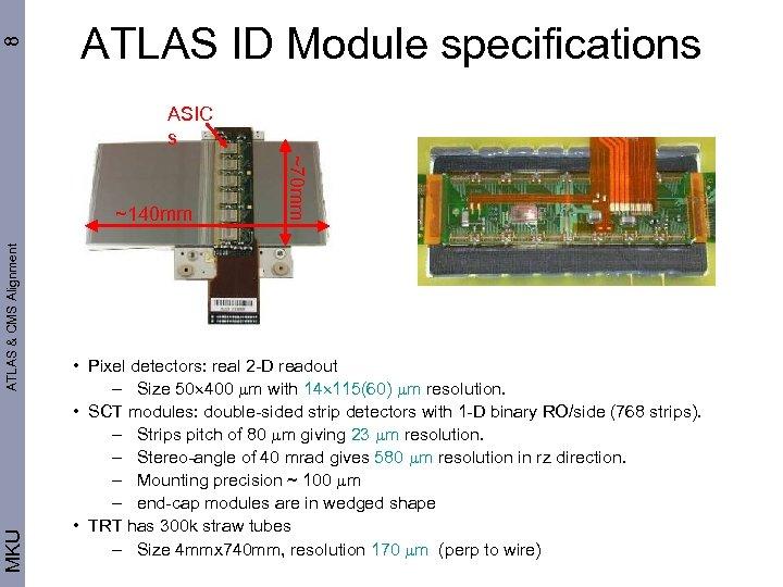 8 ATLAS ID Module specifications ASIC s ATLAS & CMS Alignment MKU ~70 mm