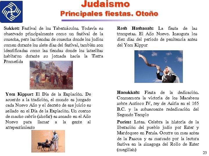 Judaismo Principales fiestas. Otoño Sukkot: Festival de los Tabernáculos. Todavía es observado principalmente como