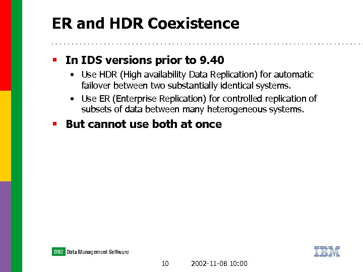 ER and HDR Coexistence § In IDS versions prior to 9. 40 • Use