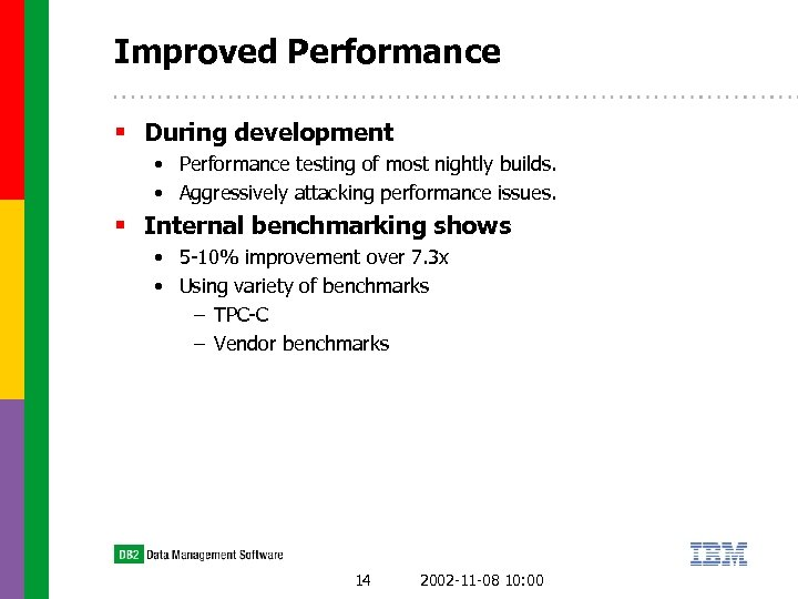 Improved Performance § During development • Performance testing of most nightly builds. • Aggressively