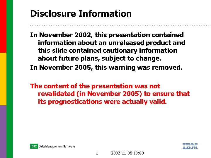 Disclosure Information In November 2002, this presentation contained information about an unreleased product and