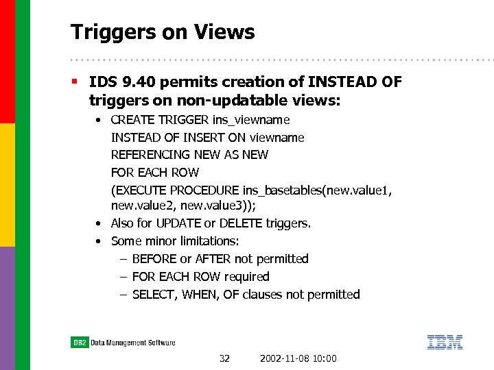 Triggers on Views § IDS 9. 40 permits creation of INSTEAD OF triggers on