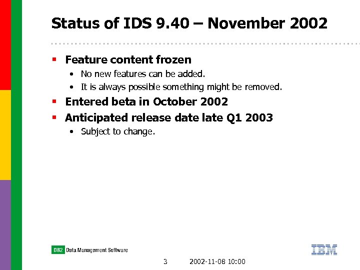 Status of IDS 9. 40 – November 2002 § Feature content frozen • No