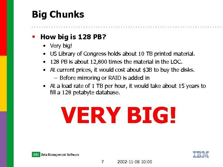 Big Chunks § How big is 128 PB? • • Very big! US Library