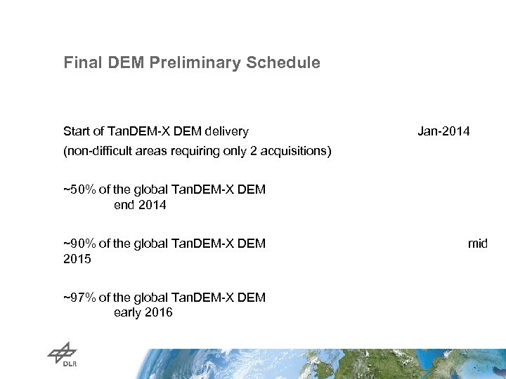 Final DEM Preliminary Schedule Start of Tan. DEM-X DEM delivery Jan-2014 (non-difficult areas requiring