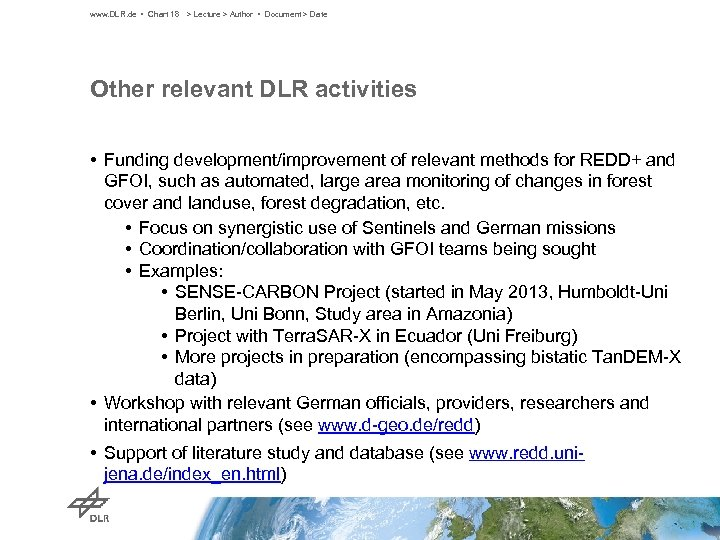 www. DLR. de • Chart 18 > Lecture > Author • Document > Date