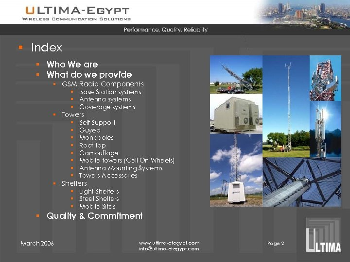 § Index § Who We are § What do we provide § GSM Radio
