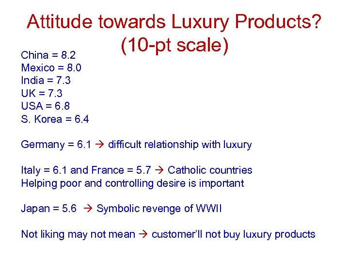 Attitude towards Luxury Products? (10 -pt scale) China = 8. 2 Mexico = 8.