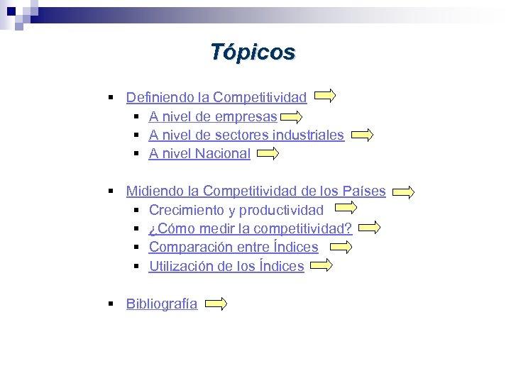 Tópicos § Definiendo la Competitividad § A nivel de empresas § A nivel de
