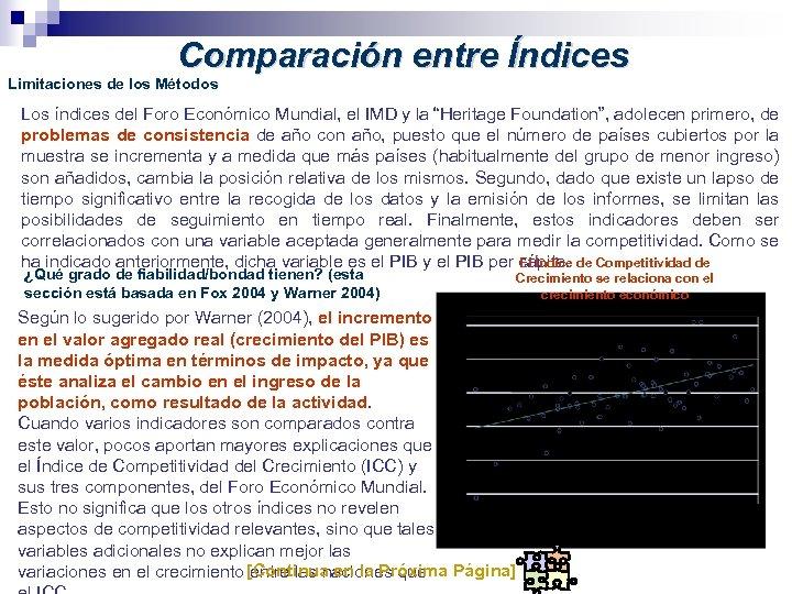 Comparación entre Índices Limitaciones de los Métodos Los índices del Foro Económico Mundial, el