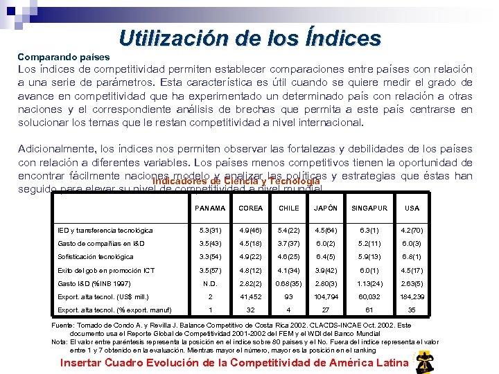 Utilización de los Índices Comparando países Los índices de competitividad permiten establecer comparaciones entre