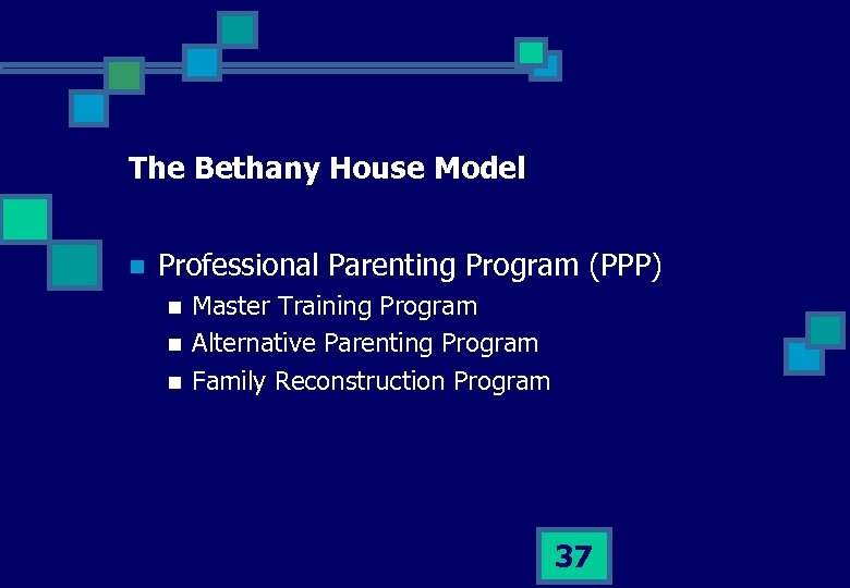 The Bethany House Model n Professional Parenting Program (PPP) n n n Master Training