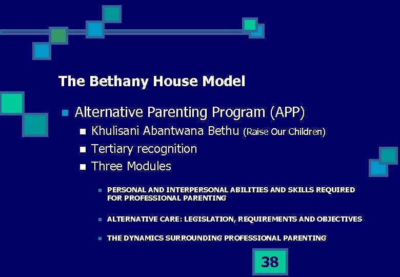 The Bethany House Model n Alternative Parenting Program (APP) n n n Khulisani Abantwana