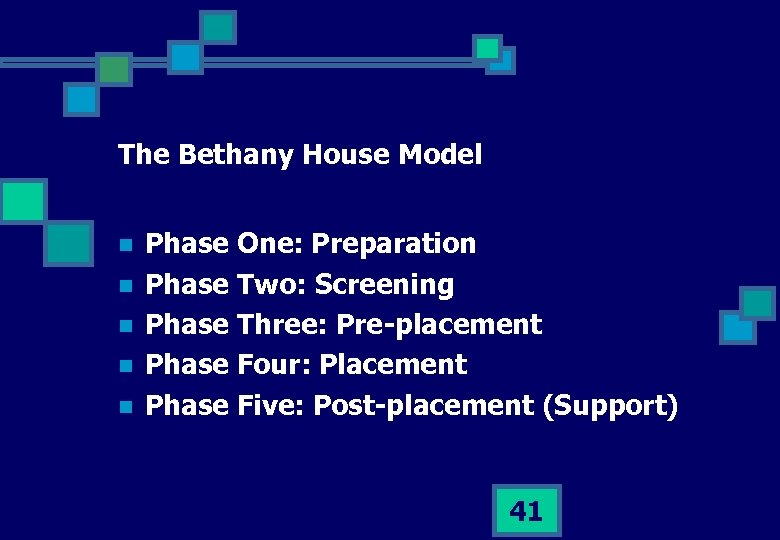 The Bethany House Model n n n Phase One: Preparation Phase Two: Screening Phase