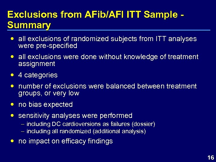 Exclusions from AFib/AFl ITT Sample Summary all exclusions of randomized subjects from ITT analyses
