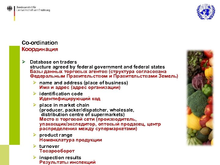 Co-ordination Координация Ø Database on traders structure agreed by federal government and federal states
