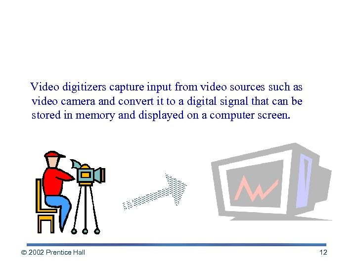 Video Digitizers Video digitizers capture input from video sources such as video camera and