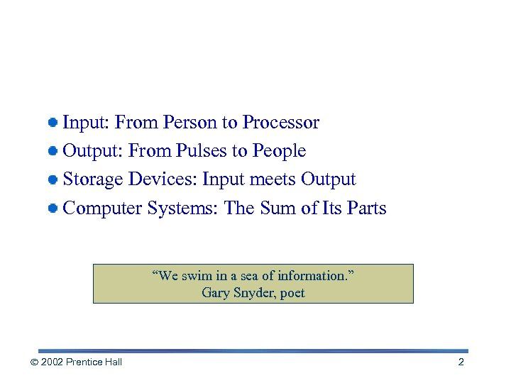 Chapter Outline Input: From Person to Processor Output: From Pulses to People Storage Devices: