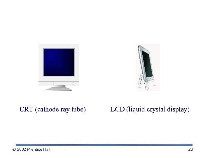 Monitor Classes CRT (cathode ray tube) 2002 Prentice Hall LCD (liquid crystal display) 20