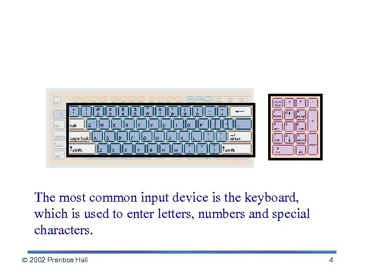 The Keyboard The most common input device is the keyboard, which is used to