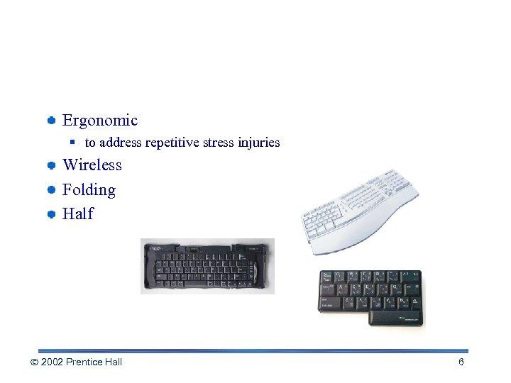 Variations on Keyboard Design Ergonomic § to address repetitive stress injuries Wireless Folding Half