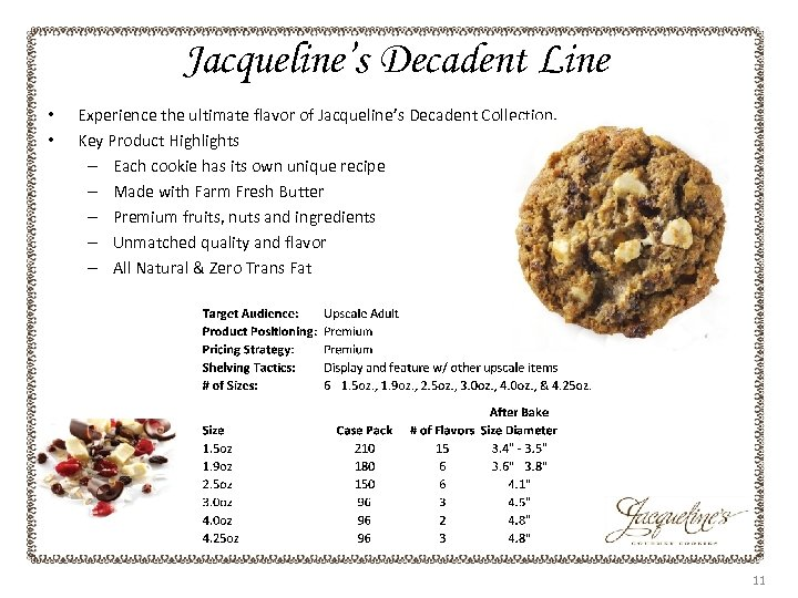 Jacqueline's Decadent Line • • Experience the ultimate flavor of Jacqueline's Decadent Collection. Key