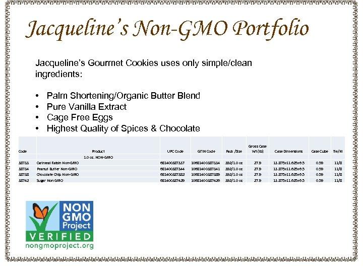Jacqueline's Non-GMO Portfolio Jacqueline's Gourmet Cookies uses only simple/clean ingredients: • • Code 38733