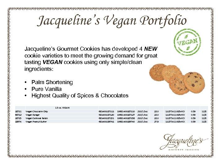 Jacqueline's Vegan Portfolio Jacqueline's Gourmet Cookies has developed 4 NEW cookie varieties to meet