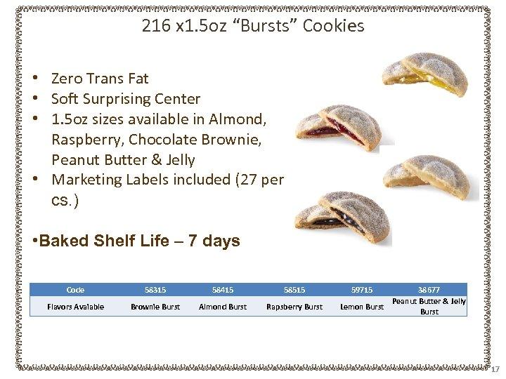 "216 x 1. 5 oz ""Bursts"" Cookies • Zero Trans Fat • Soft Surprising"