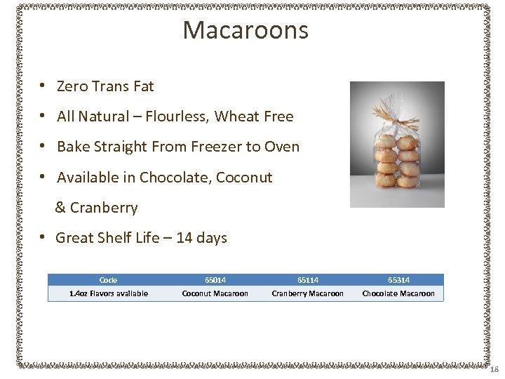 Macaroons • Zero Trans Fat • All Natural – Flourless, Wheat Free • Bake