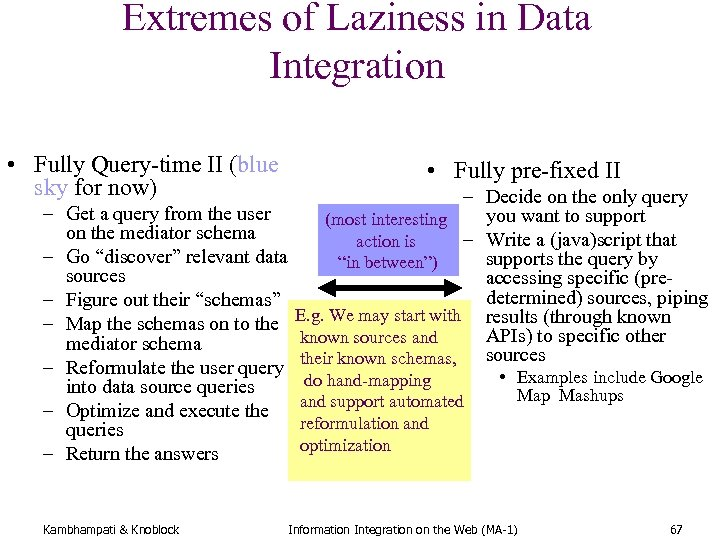 Extremes of Laziness in Data Integration • Fully Query-time II (blue sky for now)