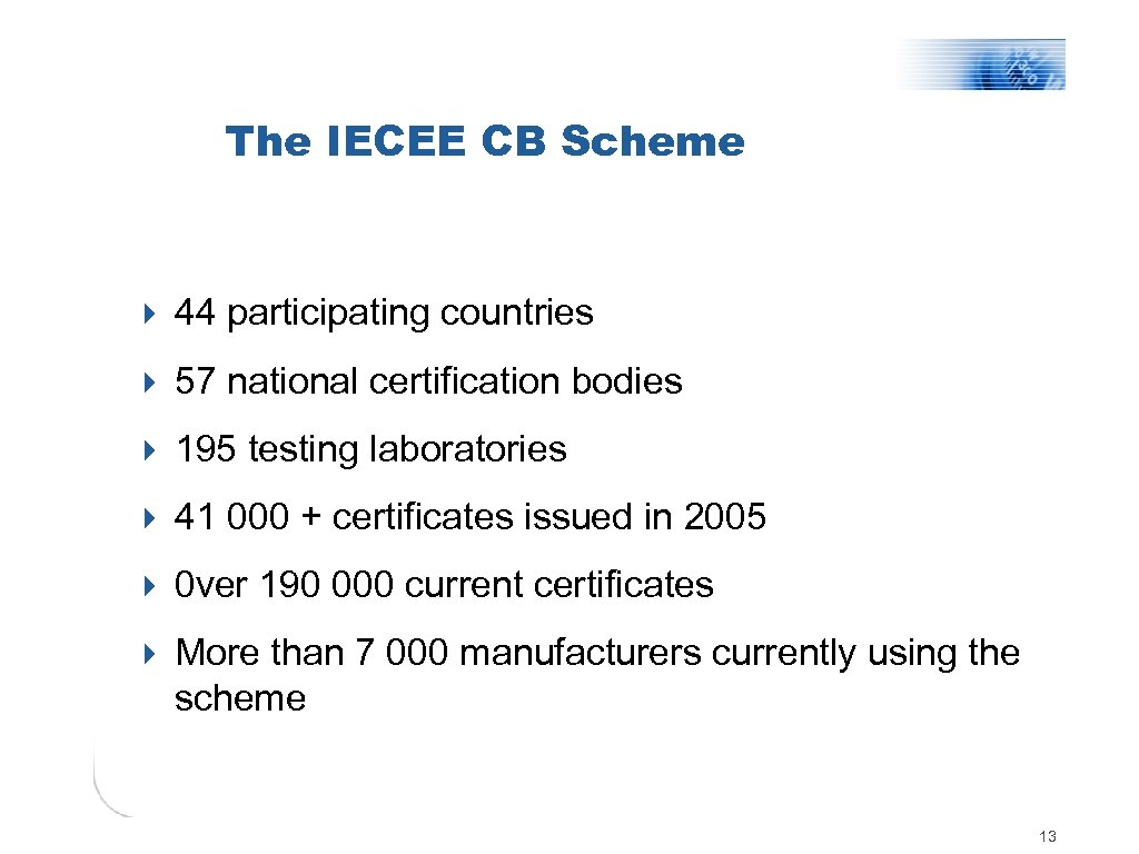 The IECEE CB Scheme 4 44 participating countries 4 57 national certification bodies 4