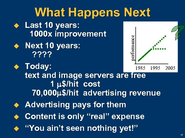 What Happens Next u u u Last 10 years: 1000 x improvement Next 10