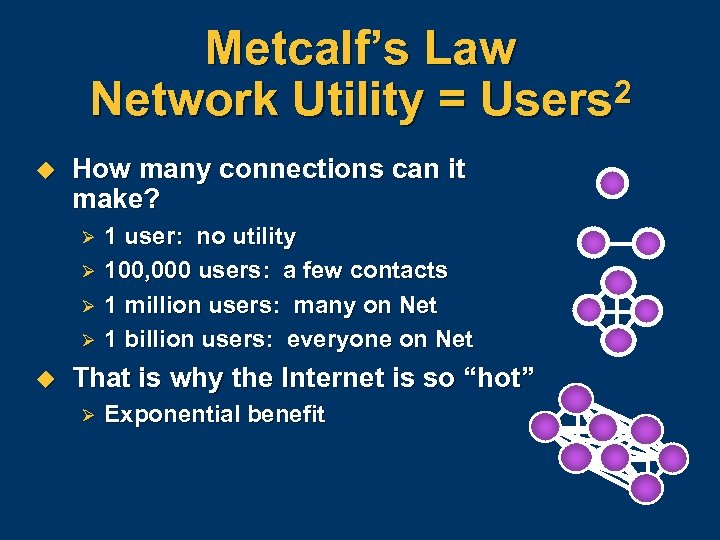Metcalf's Law Network Utility = Users 2 u How many connections can it make?