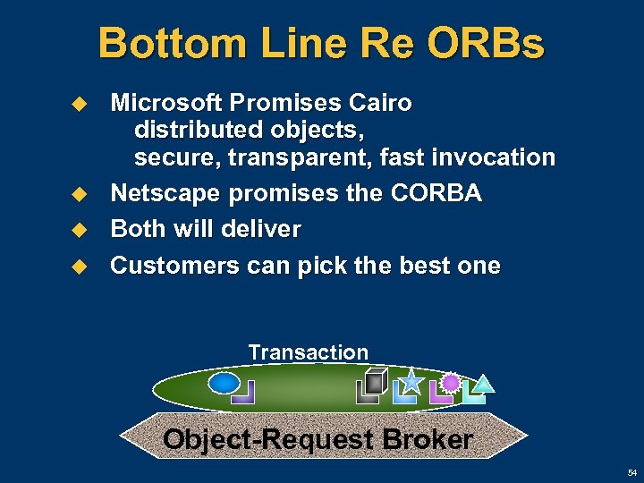 Bottom Line Re ORBs u u Microsoft Promises Cairo distributed objects, secure, transparent, fast