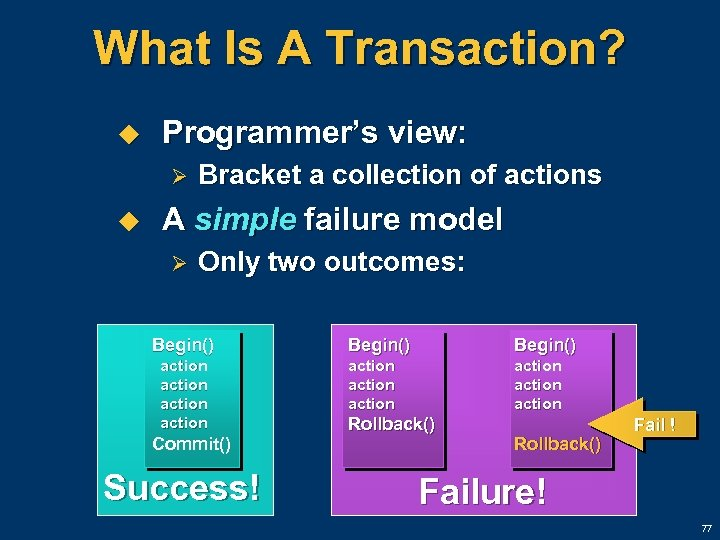 What Is A Transaction? u Programmer's view: Ø u Bracket a collection of actions