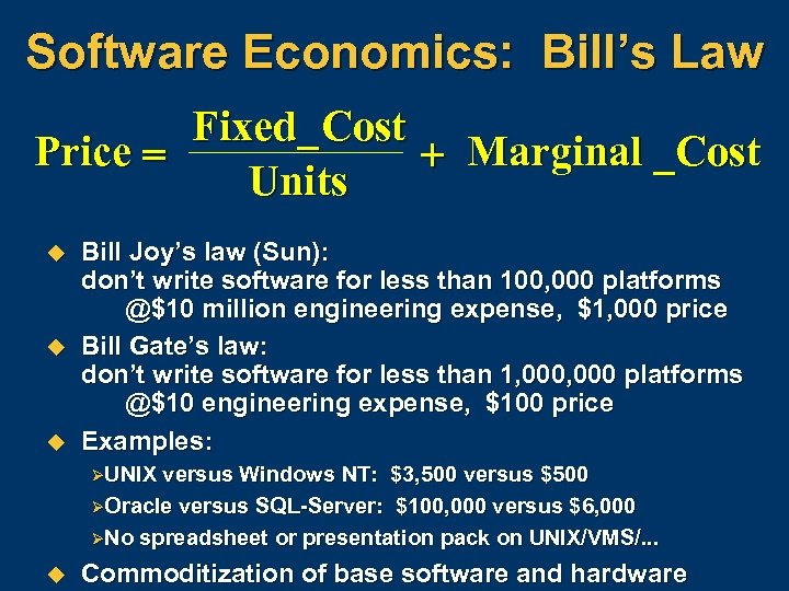 Software Economics: Bill's Law Fixed_ Cost Price = + Marginal _Cost Units u u