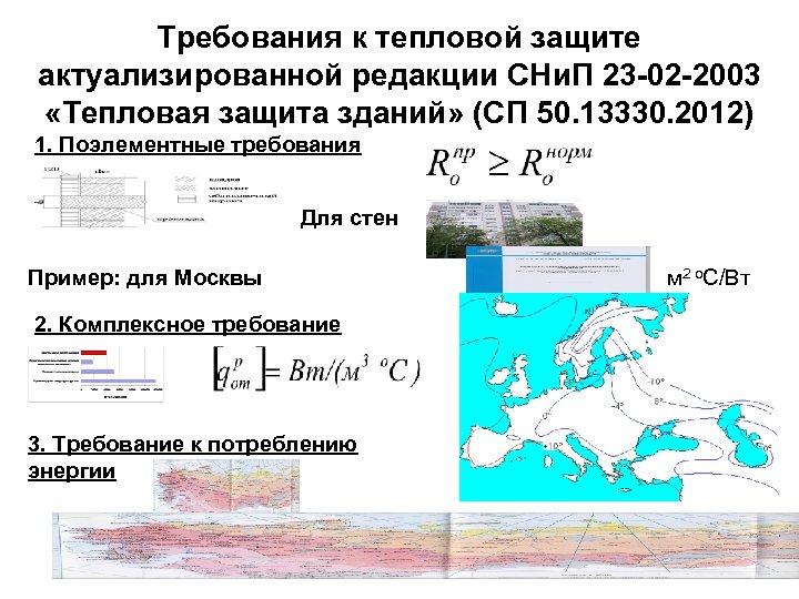 Требования к тепловой защите актуализированной редакции СНи. П 23 -02 -2003 «Тепловая защита зданий»